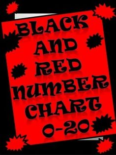 Red and Black Number Chart 0-20 with tally marks and dots. Perfect for number talks