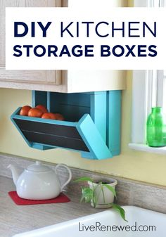 Build these great DIY Kitchen Storage Boxes to install under your cabinets to help save counter space.