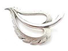 MA Sterling Silver Leaf Brooch Diamond Cut 13 Grams Signed Vintage Pin