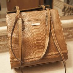 dafe615ee86 Light Brown Snakeskin Pattern-Embossed Leather Small Tote