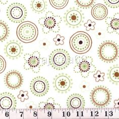 Dotted Circles Minky Cuddle Softie Fleece Fabric - White, Brown & Green