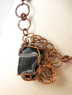 Copper Wire Wrapped Agate Necklace by Cu29Creations on Etsy
