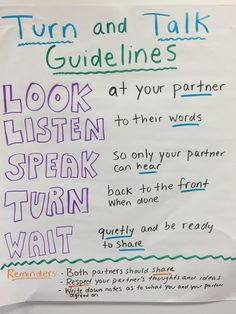 Turn and Talk is a great strategy to use in the classroom. Students are given a chance to discuss their ideas with a partner.   Here are som...