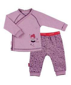 Lilac I Heart You Wrap Tee & Pants - Preemie & Infant #zulily #zulilyfinds