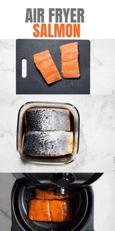Nutritious Snack Tips For Equally Young Ones And Adults Easy Air Fryer Salmon Recipe With Delicious Simple Marinade That Keeps The Fish Tender And Moist As It Cooks. Easy Whole 30 Recipes, Easy Fish Recipes, Salmon Recipes, Air Fryer Fish Recipes, Air Fry Recipes, Lunch Recipes, Free Recipes, Dinner Recipes, Marinated Salmon