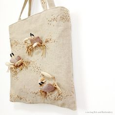 "Ghost crab felt applique and embroidery mini bag by e.no.bag ""スナガニ ノ バッグ "" #crab #embroidery #applique #sea #summer"