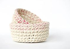 These color block crochet baskets are perfect for storing odds and ends in style. Just follow the free crochet basket pattern to quickly make your own.