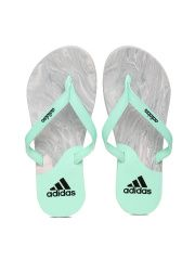 Adidas Women Mint Green & Grey Printed Flip-Flops
