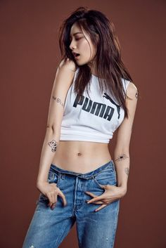 Nana being hot while rocking sportswear and tattoos for Puma - Asian Junkie Fashion Model Poses, Fashion Models, Girl Fashion, Cute Asian Girls, Beautiful Asian Girls, Nana Afterschool, Female Pose Reference, Human Poses, Figure Poses