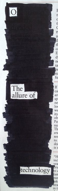 """A blackout by maltbysfalcon - I love blackout poetry! It would be perfect for a National Poetry Month project.      """"Allure"""""""