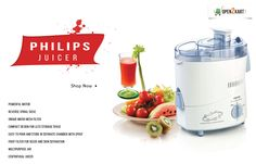 Make your kitchen work easy and get fresh juice with new Philips Juicer.