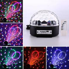 Mini rgb led mp3 dj club bar del partito della discoteca di cristallo magic ball luce e Musica Sfera della Fase Effetto Luce con USB Disk Telecomando