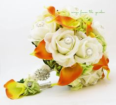 Autumn Wedding Bridal Bouquet and Groom's Boutonniere featuring White Real Touch Roses
