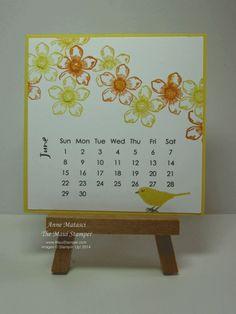 Maui Stamper 2014 DIY Easel Calendar June