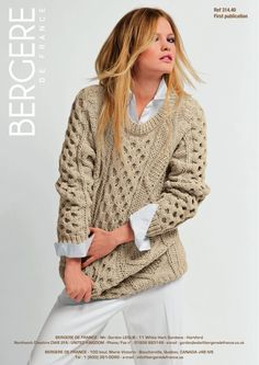 Irish Knit Sweater in Bergere de France PurMerinos. Discover more Patterns by Bergere de France at LoveKnitting. The world's largest range of knitting supplies - we stock patterns, yarn, needles and books from all of your favourite brands.