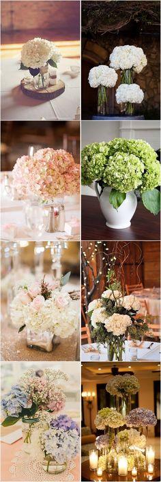 Wedding Centerpieces » 21 Simple Yet Rustic DIY Hydrangea Wedding Centerpieces Ideas » ❤️ See more: http://www.weddinginclude.com/2017/07/simple-yet-rustic-diy-hydrangea-wedding-centerpieces-ideas/