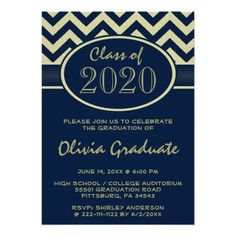 Dark Blue Yellow Gold Toned Chevron Graduation Custom Announcements This trendy personalized graduation announcement invite features a classic chic modern Dark Blue and yellow gold toned chevron fashion pattern. Great to use for a high school, college or university grad