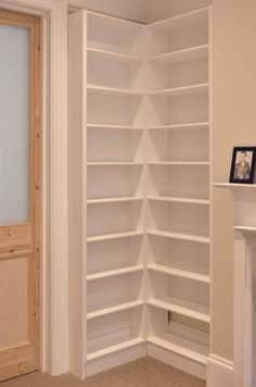 My clients asked for a large fitted bookcase for their room in Brighton. The piece was to match another large bookcase on the adjacent wall. Bookshelves For Small Spaces, Corner Bookshelves, Bookcases, Shelf Design, Home Office Design, Diy Furniture, Weathered Furniture, Home Organization, Home Projects