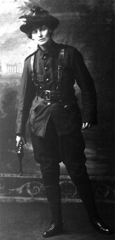 "Countess Constance Markievicz. (1868 – 1927). Irish Sinn Féin and Fianna Fáil politician, revolutionary nationalist, suffragette and socialist. First woman elected to the British House of Commons, though did not take seat; also one of the first women in the world to hold a cabinet position. Founded Fianna Éireann, a para-military nationalist scouts organisation that taught teenagers to use firearms. When sent to prison by british, said: ""I do wish your lot had the decency to shoot me."""