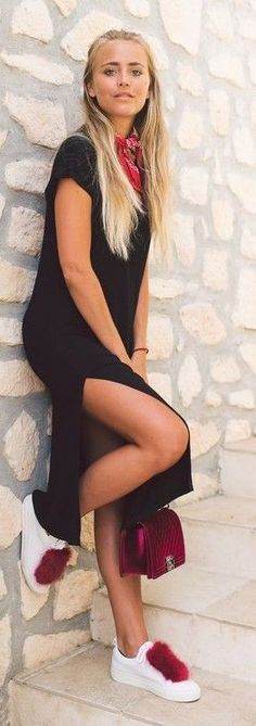 #spring #summer #outfitideas   Black Maxi Dress + White Sneakers + Pop Of Red  Janni Deler