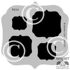 P214 POCHOIR GABARIT Cadres étiquettes baroques carrés 2 (5 tailles)