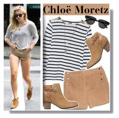 """Chloë Grace Moretz in stripes"" by anne-mclayne ❤ liked on Polyvore featuring J.Crew, MANGO, GUESS, Yves Saint Laurent, Vince Camuto, GetTheLook, StreetStyle, celebstyle, chloegracemoretz and stripedstyle"