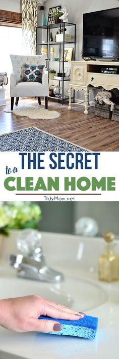 The key to good a spring cleaning and living in a cleaner house actually starts with clearing the clutter in your home.  The more organized your home is, the easier it will be to keep clean. The Secret to a Clean Home at TidyMom.net #cleanfeelsgood