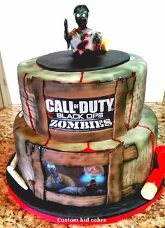 Call of Duty Zombies Cake. We added some glow in the dark glitter to his eyes… Zombie Birthday Parties, Zombie Party, Birthday Party Tables, Iron Man Birthday, Boy Birthday, Birthday Ideas, Birthday Cake, Cupcakes, Cupcake Cakes