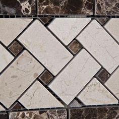 Crema Marfil Marble Polished Basketweave Border Listello w/ Emperador Dark Dots - American Tile Depot - Commercial and Residential (Interior & Exterior), Indoor, Outdoor, Shower, Backsplash, Bathroom, Kitchen, Deck & Patio, Decorative, Floor, Wall, Ceiling, Powder Room - 3