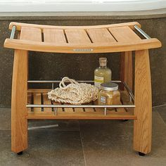 designed by frontgate our teak shower bench with shelf combines solid teak and stainless steel - Teak Shower Bench