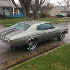 "Forgiato Martellato chrome wheels 22""Inch front 24"" Inch rear 1972 Chevy Chevrolet chevelle grey 5 star"