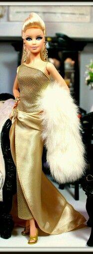 BArbie Doll in Gold dress