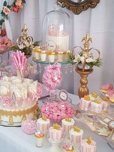 Pretty pink and gold princess baby shower party! See more party planning ideas at CatchMyParty.com!