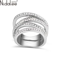 Nidalee 2017 디자인 크리스탈 중국에서 스와 반지 골드 컬러 패션 럭셔리 빈티지 웨딩 반지 보석 anillos r351