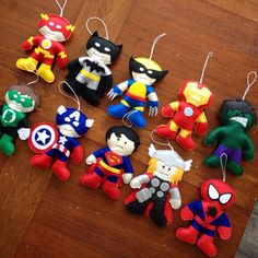Love these superhero Christmas Ornaments by HebCrafts on Etsy!! I'd want to play with them all year long :) #christmastree #Christmas #superhero #decoration #gift #uniquegift #hulk #captainamerica #avengers #thor #superman #ironman