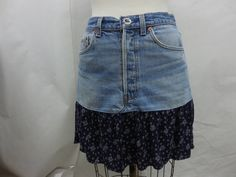 Womens Upcyled Levi's 501 Floral Print Light Wash Denim Jean Skirt Size 32 by KCteedesigns on Etsy