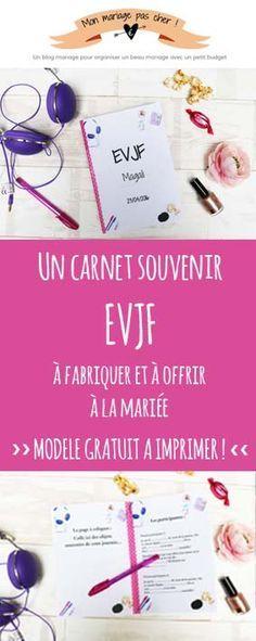 Une idée super sympa et économique pour un EVJF : fabriquer un mini carnet souvenir de cette journée. Les participantes remplissent le carnet et offrent le livret à la mariée à la fin de l'EVJF. Modèle gratuit à personnaliser et à imprimer.