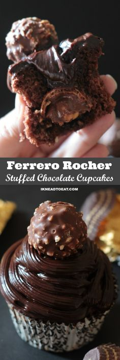 Ferrero Rocher Stuffed Chocolate Cupcakes with Chocolate Ganache Frosting Chocolate Ganache Frosting, Chocolate Cupcakes, Chocolate Recipes, Ferrero Rocher Cupcakes, Ganache Recipe, Baking Chocolate, Candy Recipes, Cupcake Recipes, Cookie Recipes
