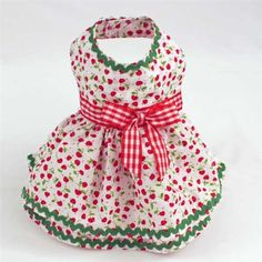 Designer, custom, handmade summer seersucker dog dresses clothes with cherry print for small teacup and toy breed girl dogs and puppies like...  $56.00