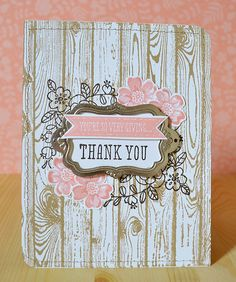 I created this card using the new Stampin Up stamp sets So Very Grateful and Hardwood.