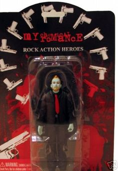 Here's your chance to own a very rare figure from the smash-hit band My Chemical Romance! This is the rare variant zombie figure. Approximately only 200 of each zombie figure were made! tall figure comes in stylish blister card packaging. Emo Bands, Music Bands, My Chemical Romance, Green Day Band, Bob Bryar, Three Days Grace, Mikey Way, Gerard Way, Music Artists
