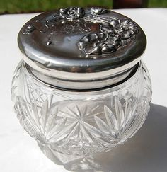 Unger Jonquil Sterling Silver Cut Crystal Dresser Jar from ...