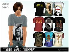 Male & Female Clothing: Nirvana T-Shirts - The Sims 3 Custom Content