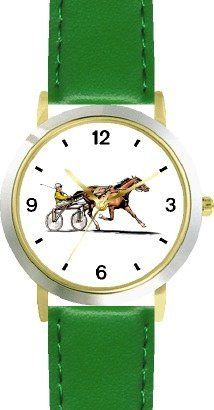 Sulky Horse or Standardbred Racehorse Horse - WATCHBUDDY® DELUXE TWO-TONE THEME WATCH - Arabic Numbers - Green Leather Strap-Children's Size-Small ( Boy's Size & Girl's Size ) WatchBuddy. $49.95