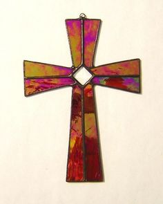 stained glass suncatchers | ... Stained Glass Cross with glass bevel Great Gift! | GlassAct - Glass on