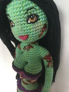 Customised Order made from the photos & communications I receive from you. Zombie & Monster items are more & more popular these days. Every doll I make will be a one of a kind, using the Kim Body Doll Pattern, I will create your desired look to the best of my ability. I use 100% cotton, or a blend of cotton/wool. The brand is usually Patons No acrylic. The embroidery thread is glossy high quality brand DMC The doll in this listing is already sold. Once you place an order, and have paid a…