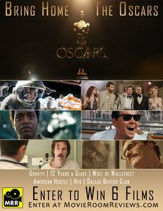 #PinItToWinIt and Win6 Best Picture Nominees thanks to MovieRoomReviews.com - #Oscars #Giveaway Enter Here: http://movieroomreviews.com/mrrs-oscars-2014-giveaway