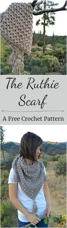 Crochet Triangle Scarf Pattern | Free Crochet Pattern from Cute As A Button Crochet & Craft  #free #crochet #pattern #grannysquare #triangle #scarf