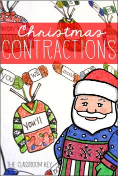 Christmas sweater contractions FREEBIE, a fun and free Christmas activity for first and second grade