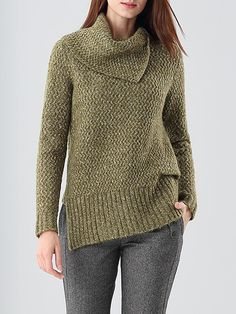 #AdoreWe #StyleWe Sweaters - e.fire Olive Green Turtleneck Asymmetric Solid Sweater - AdoreWe.net